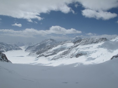 View of the glaciers from Jungfrau